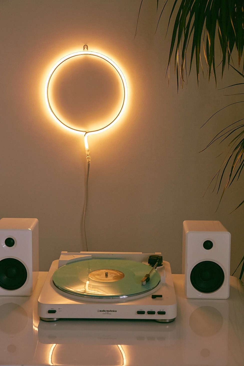 Warm neon lights in a dedicated music corner