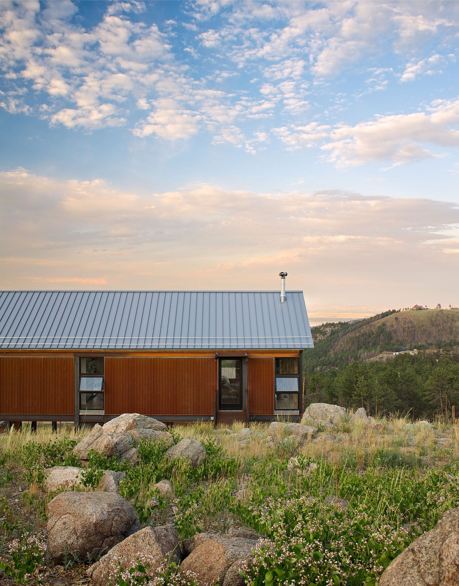 Wooden siding offers classic beauty and smart insulation to the mountain home