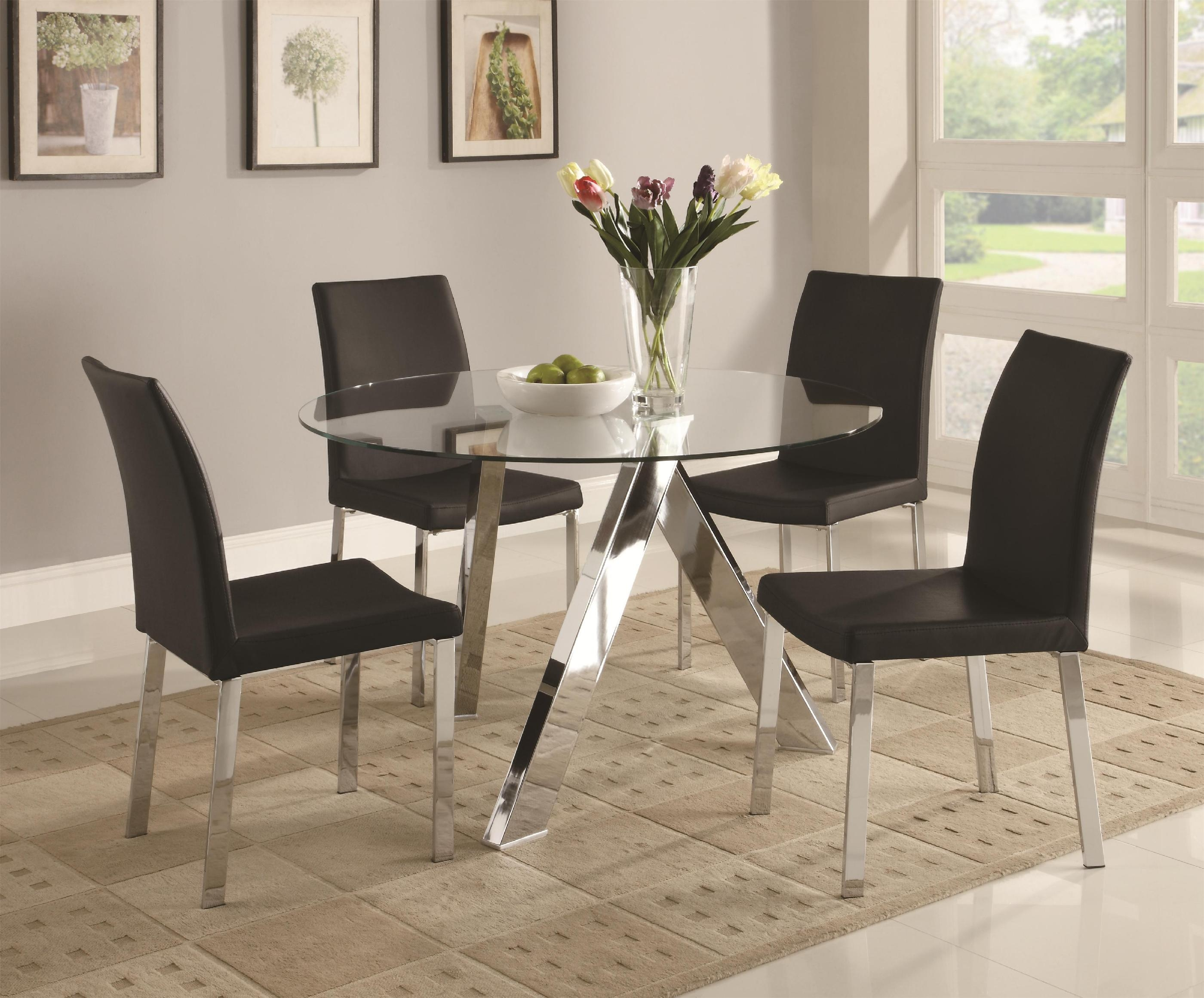 Charming Round Glass Dining Table And Black Chairs Starrkingschool   Dining Room  Table Chair