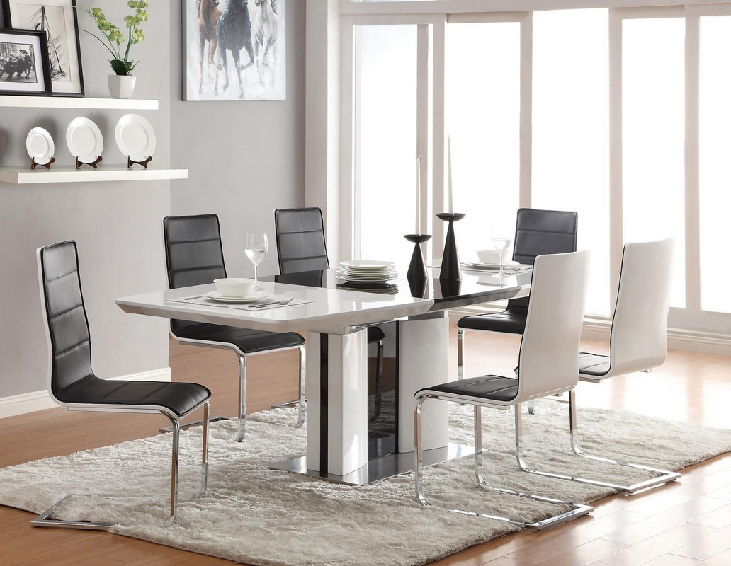 in a dining room with clear modernist elements a simple white rug is