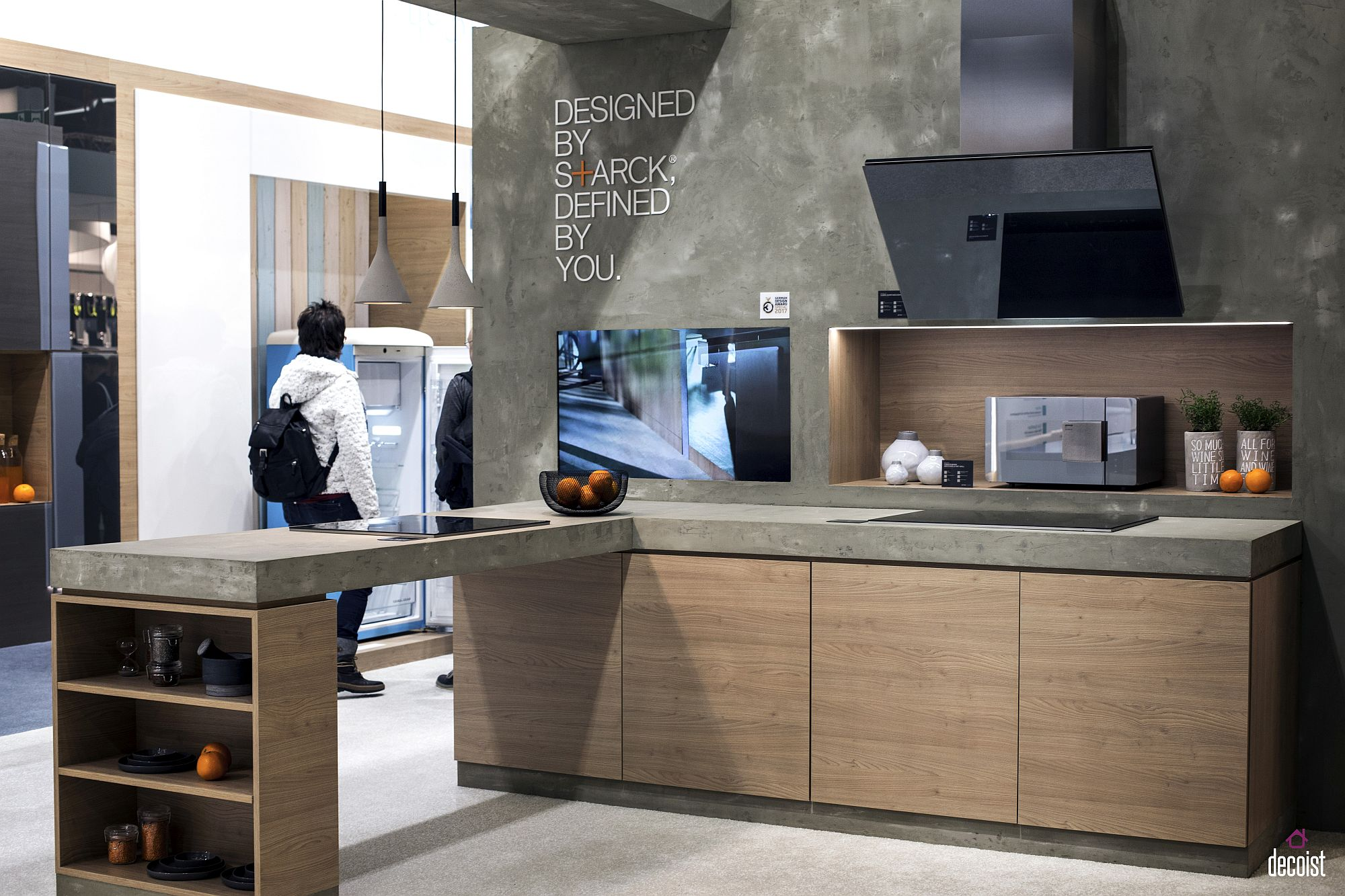 A slab of wood or concrete can add additional space to the one-wall kitchen