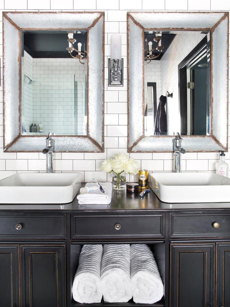 A white rectangular vessel sink is a great element of lightness