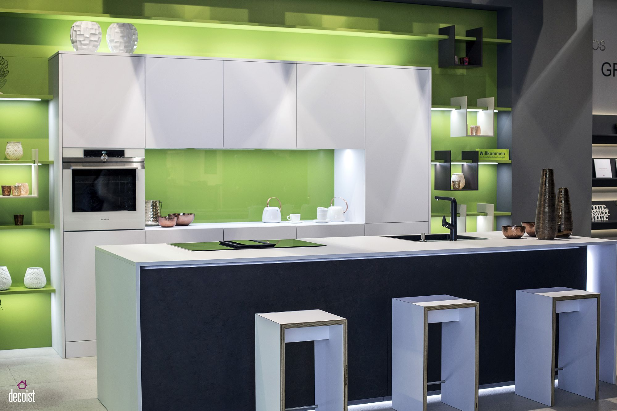 Decorating with led strip lights kitchens with energy for Modern green kitchen design