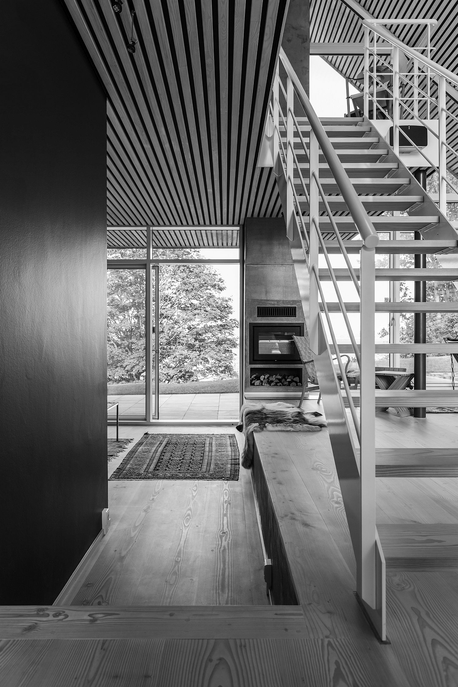 Black and white image of Villa P in Denmark