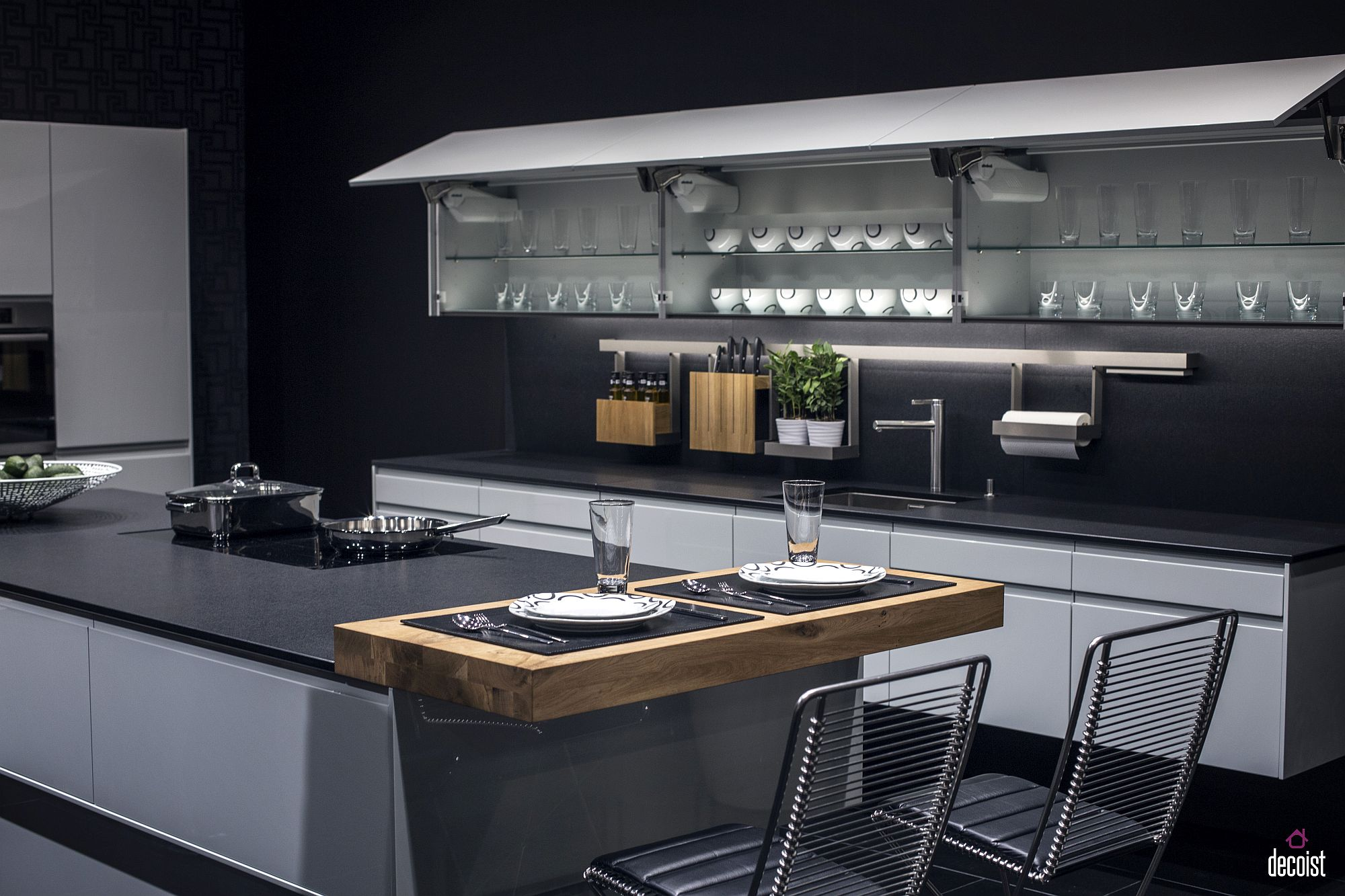 Bluish-gray gives the kitchen a refined and inviting look