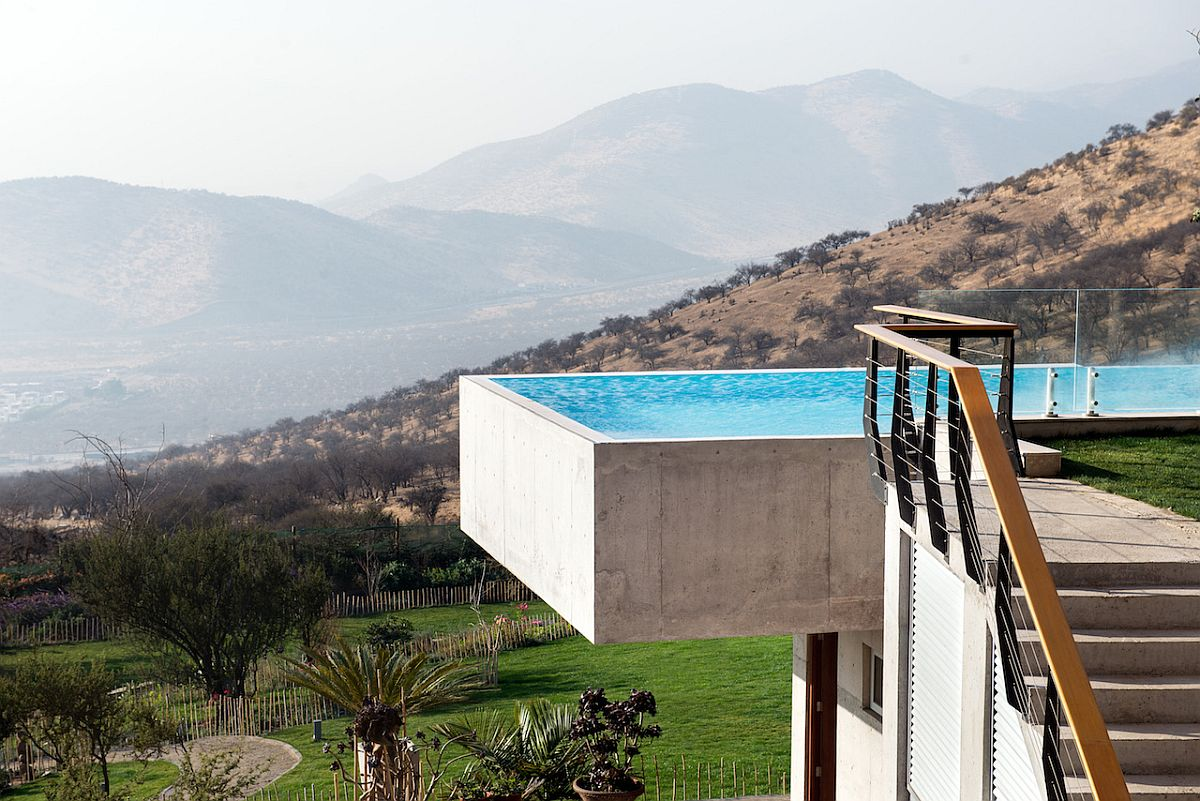 Cantilevered infinity pool at the expansive Chilean home takes your breath away