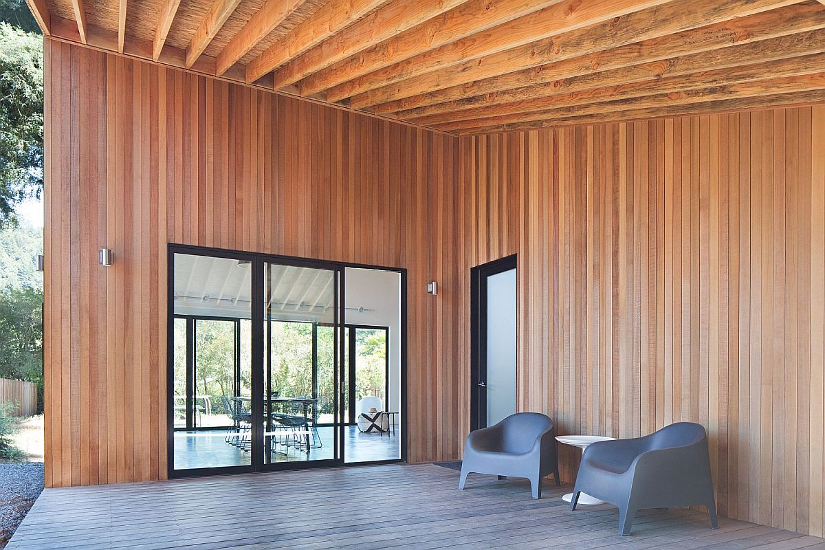 Cedar walls give the deck a warm and inviting appeal