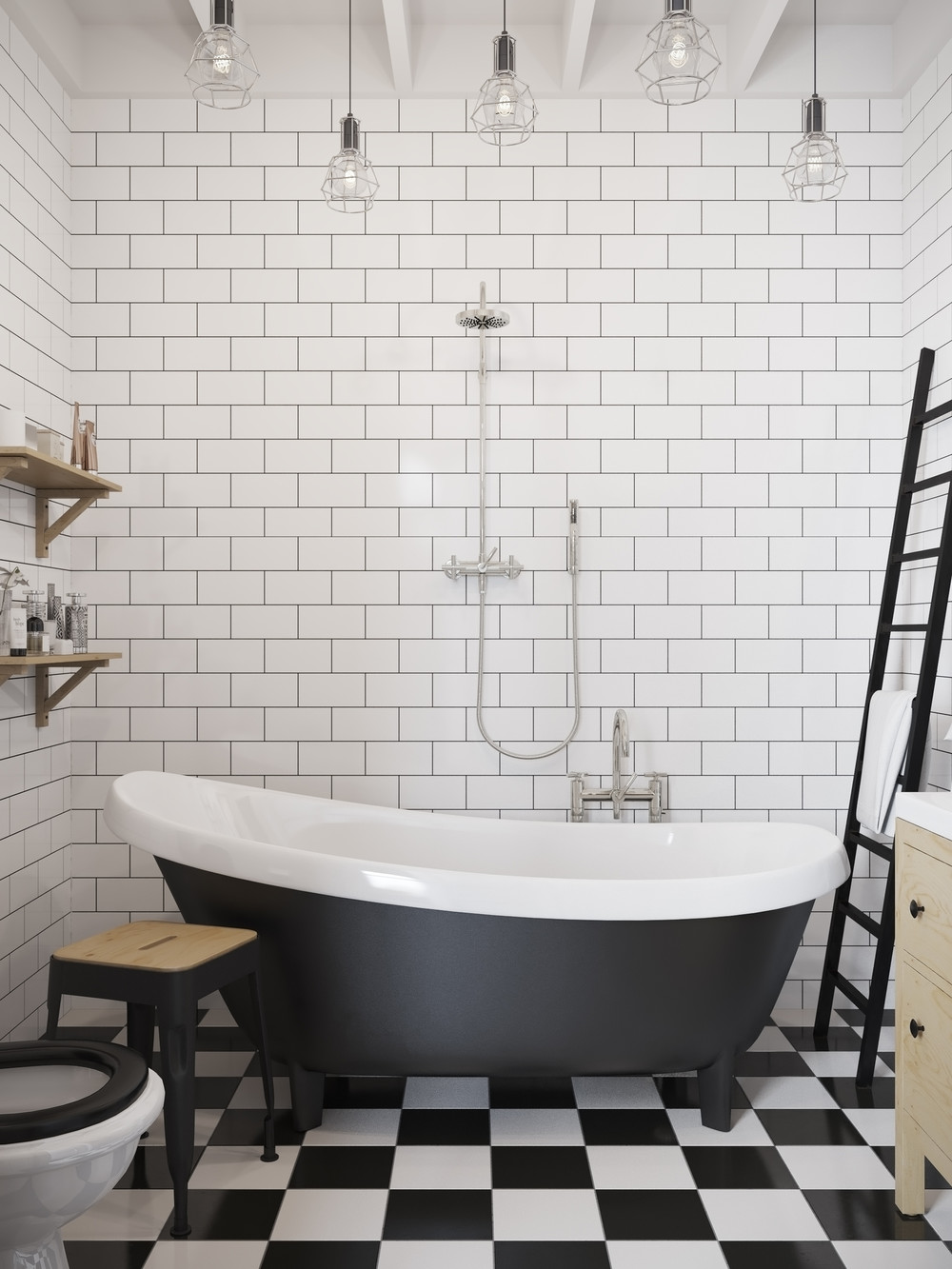 Checkerboard flooring is a great companion to subway tiles