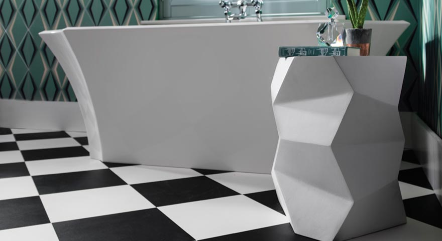 Checkered floors paired with contemporary bathroom pieces