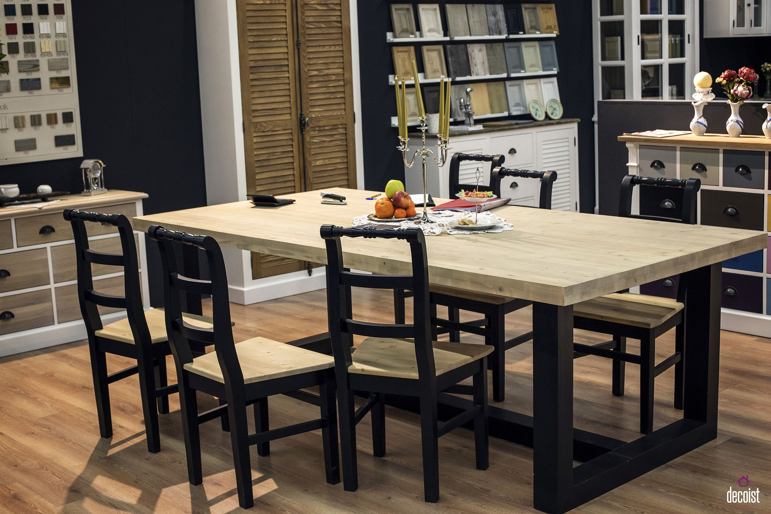 Clean straight lines give the classic wooden dining table a modern look