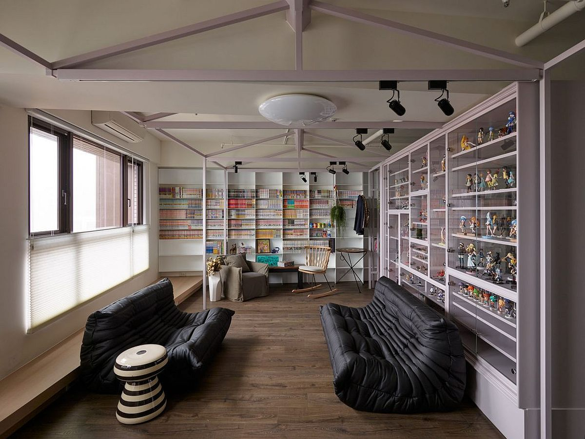 Colorful accessories comfy decor and natural light create a cheerful living area Fashion Designer's Hub in Taiwan Relies on Smart Shelving and Storage