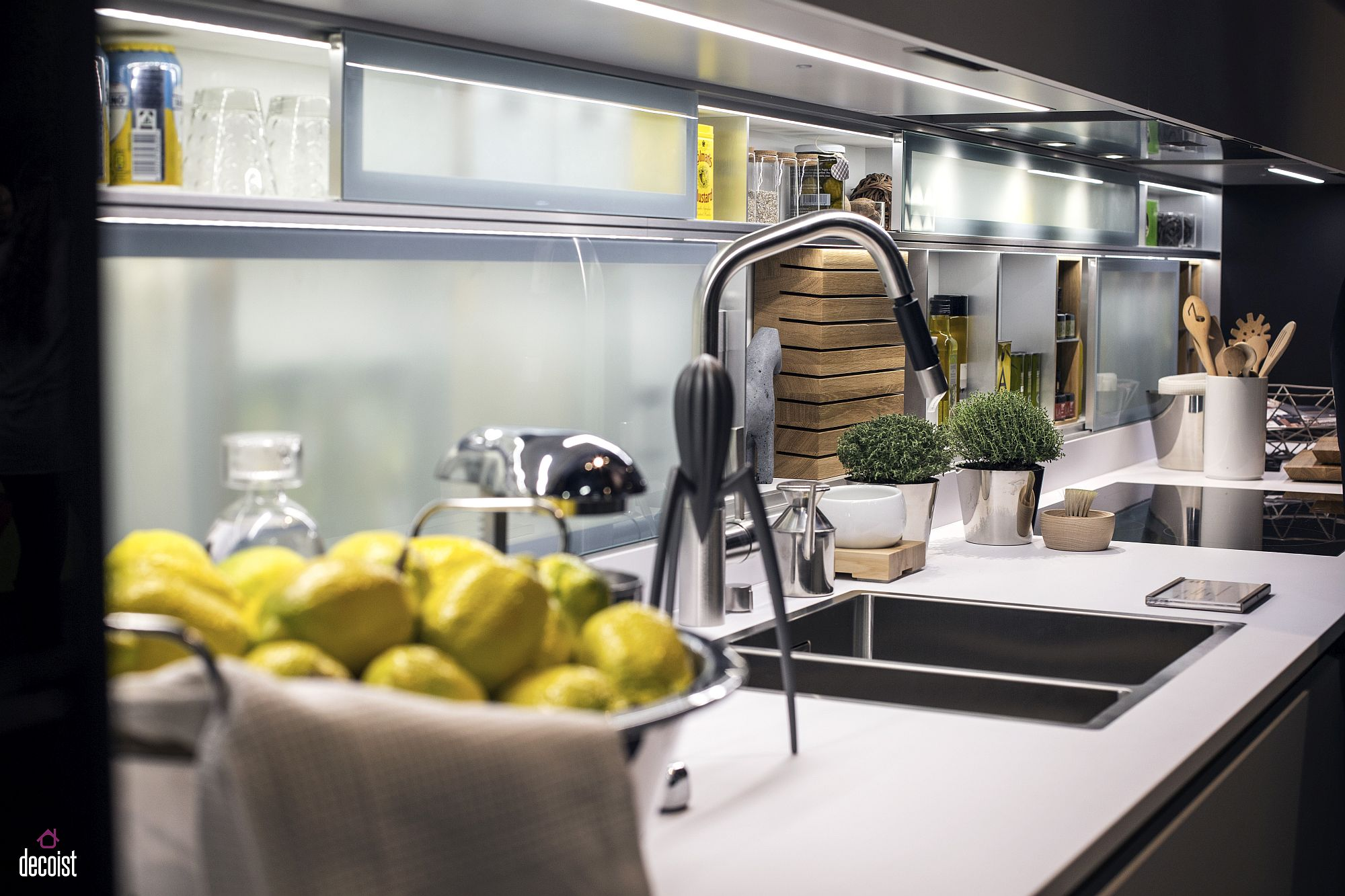 Combine LED recessed lights with strip ligjts to create the perfect kitchen counter