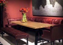 Comfy red banquette style seating along with a bold backdrop creates a stunning dining area 217x155 Serve it Bright: 15 Ways to Add Color to Your Contemporary Dining Space