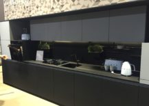 Contemporary one wall kitchen in black 217x155 Embracing Darkness: 20 Ways to Add Black and Gray to Your Kitchen