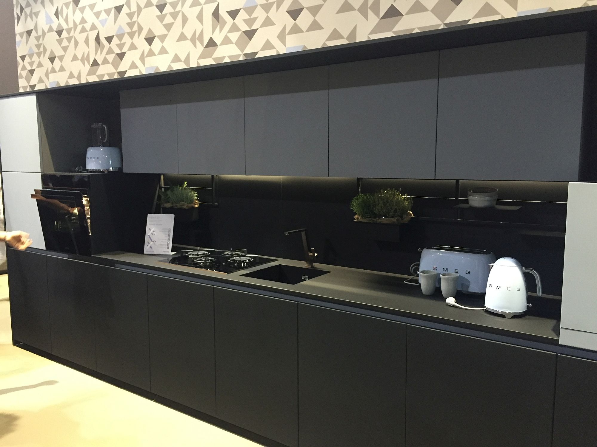 Contemporary one-wall kitchen in black