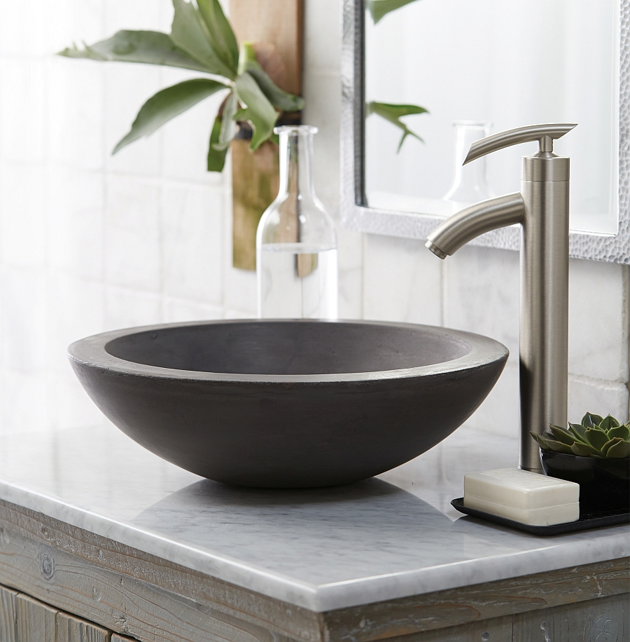 Contemporary raw gray vessel sink