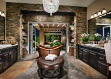 Copper-bathtub-is-a-great-contrast-to-the-dark-wood-interior-217x155