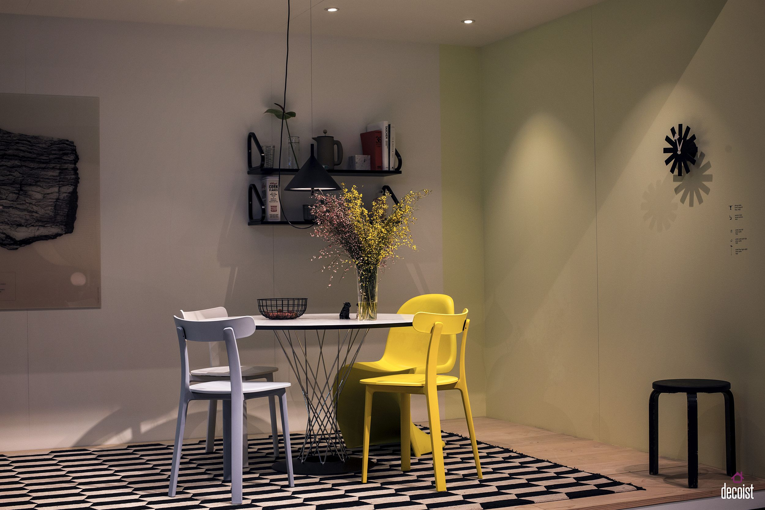 Couple of chairs in yellow brighten the dining room in neutral hues