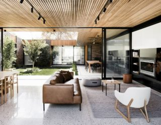 Trio of Tranquil Yards Shape Contemporary Aussie House