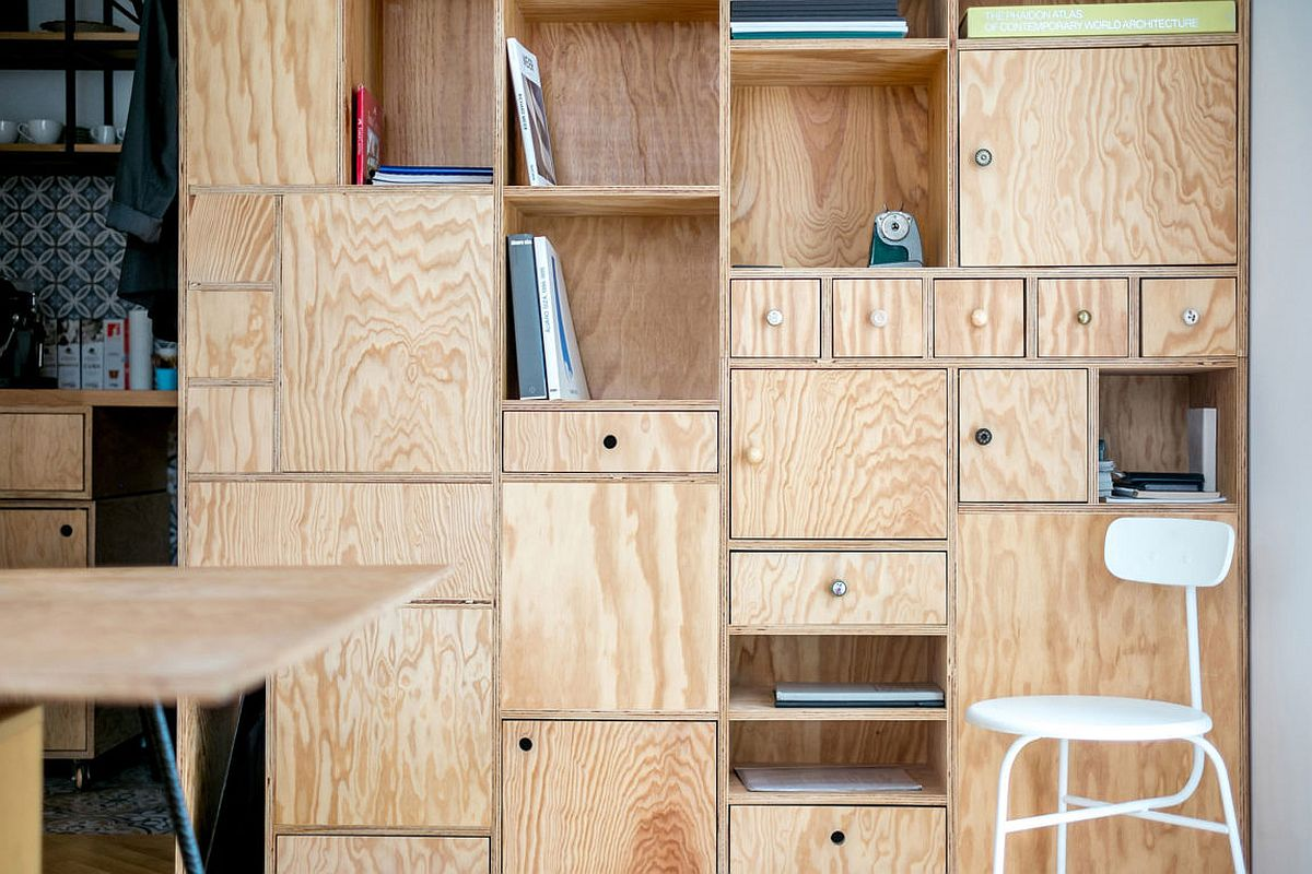 Cupboards, cabinets and shelves create a maze of display and storage options