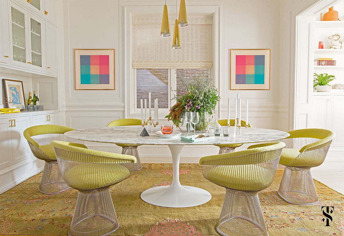 Dashing dining room with stylish dining table and Platner chairs