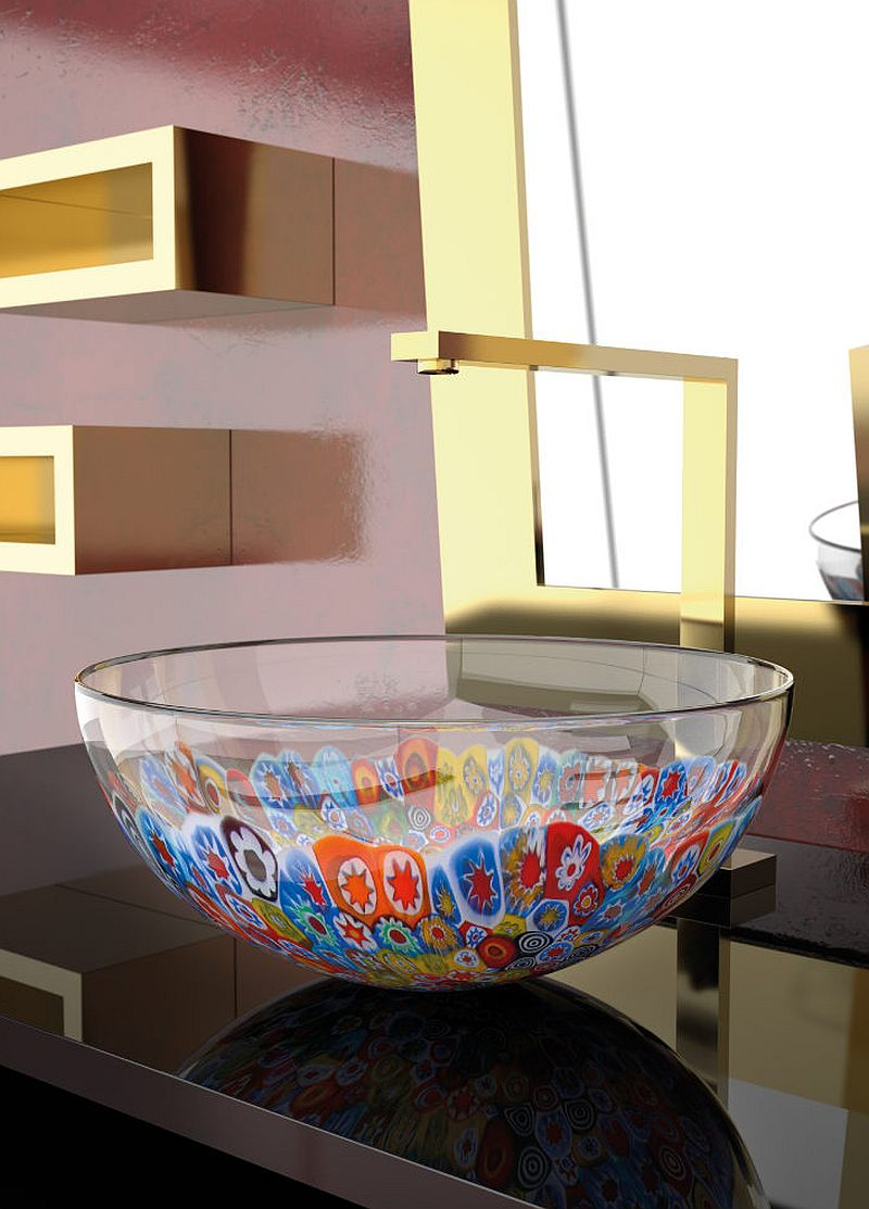 Decorated glass sink brings color and contrast to the bathroom