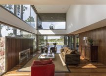 Double height living room of the spacious Brazilian home with river views 217x155 Breezy Natural Vibe: Cantilevered Brazilian Home Captivates with River Views