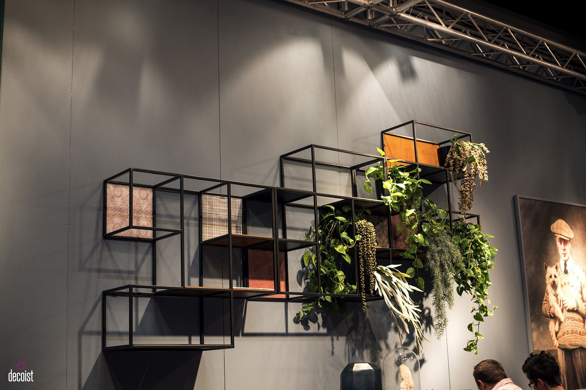 Dramatic composition of modular shelves can be repeated to create additional display space
