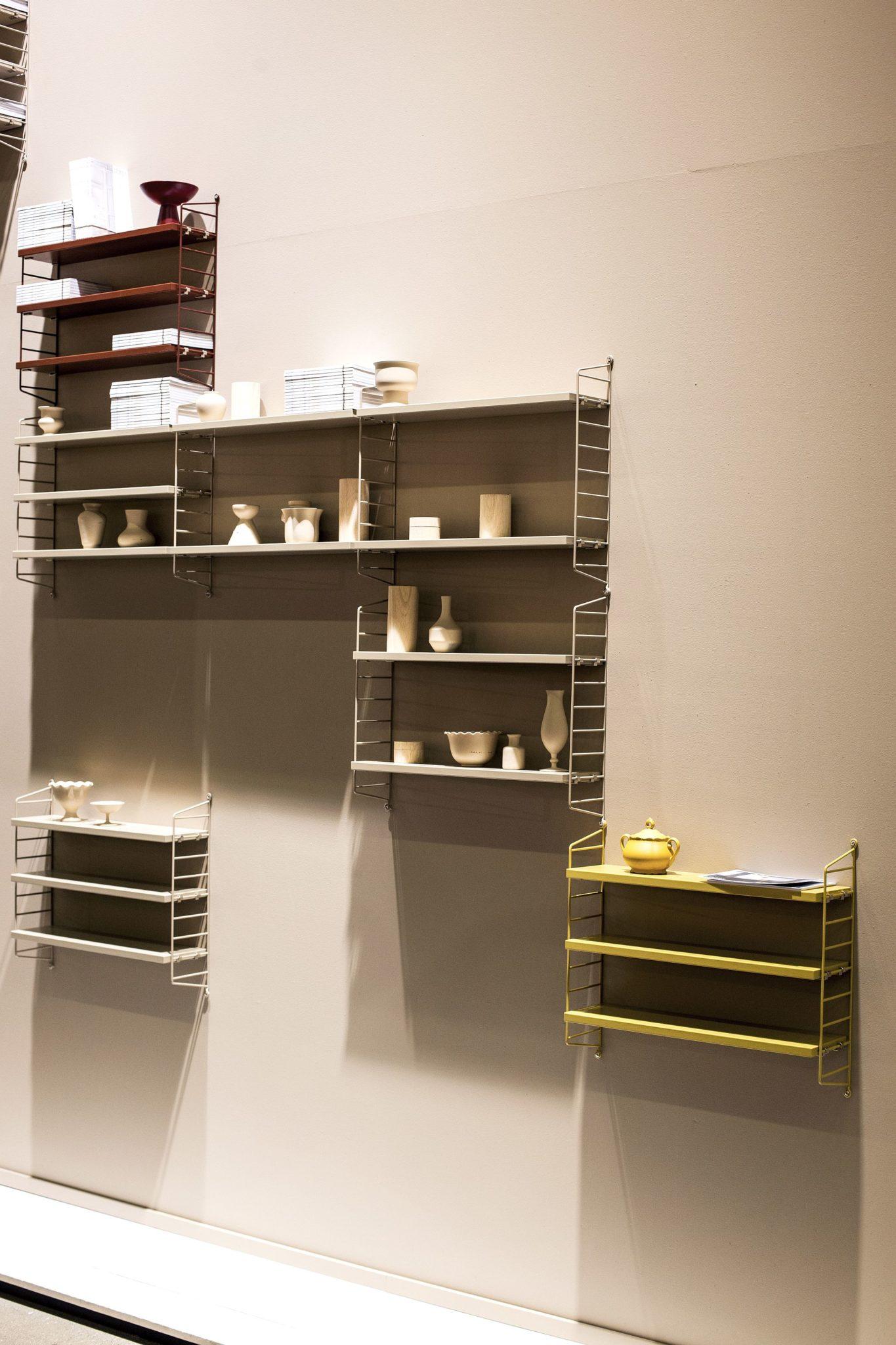 Ergonomic String shelving system for the home office