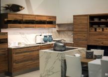 Ergonomic kitchen in marble and wood from Decker 217x155 10 Dashing Modern Kitchens that Combine Marble and Wood