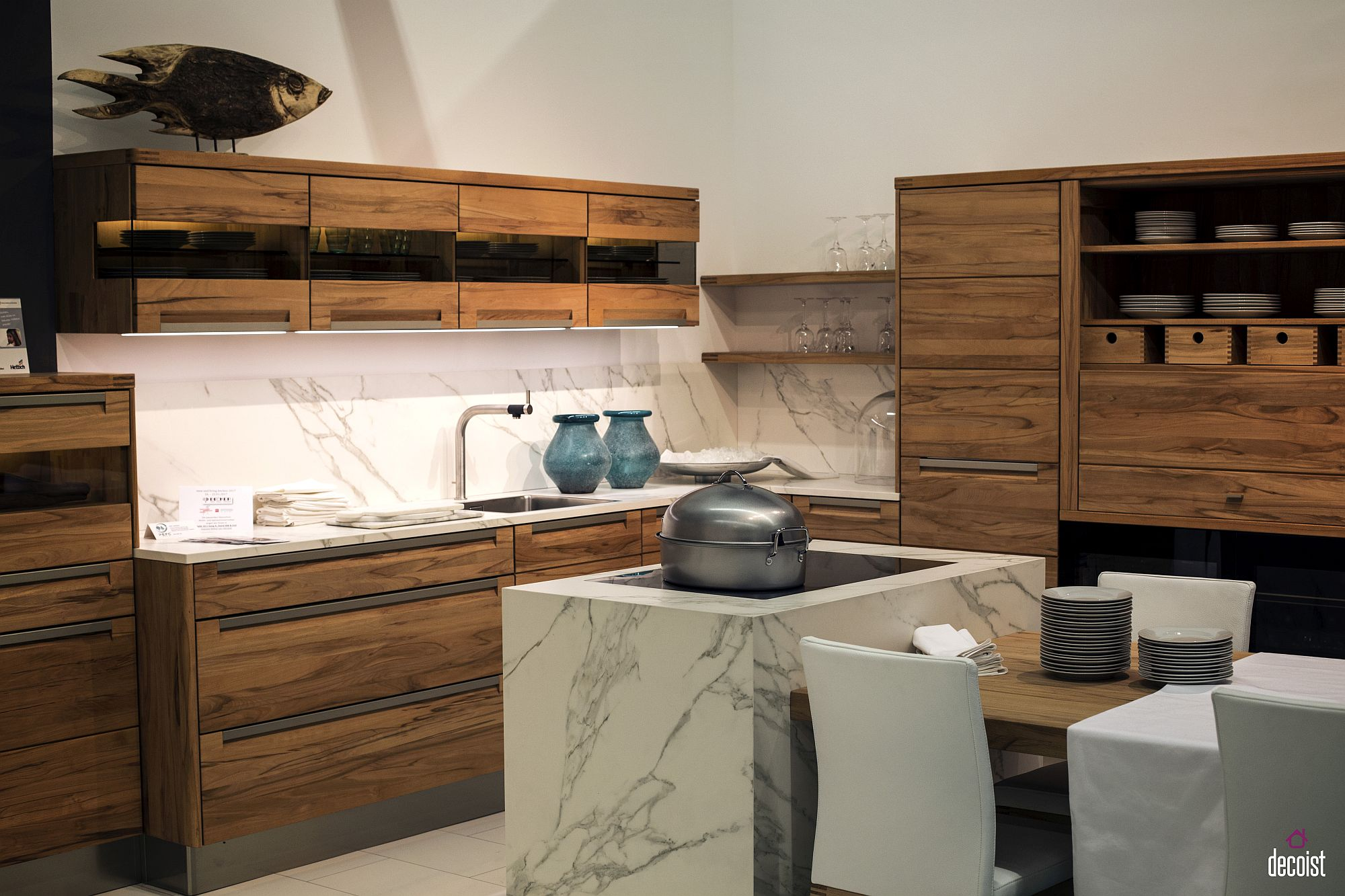 Exquisite contemporary kitchen in marble and wood from Decker