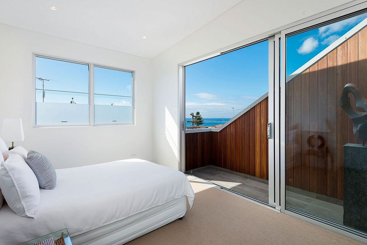 Fabulous beach views from the bedroom of the revamped Sydney home