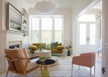 Fabulous living room in white pastel pink and gold 217x155 Chic and Tasteful: Revamped Modern Townhouse in Lincoln Park
