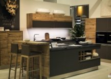 view in gallery stylish kitchen island in gray with wooden breakfast bar that steals the show