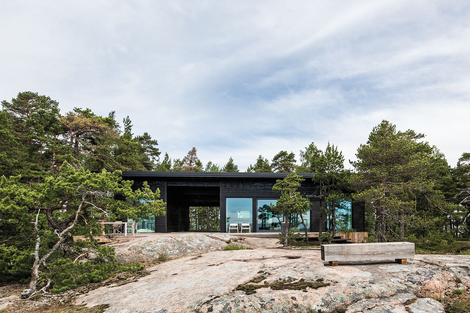 Modern Scandinavian Log Cabin Set on a Beautiful Baltic Sea Island