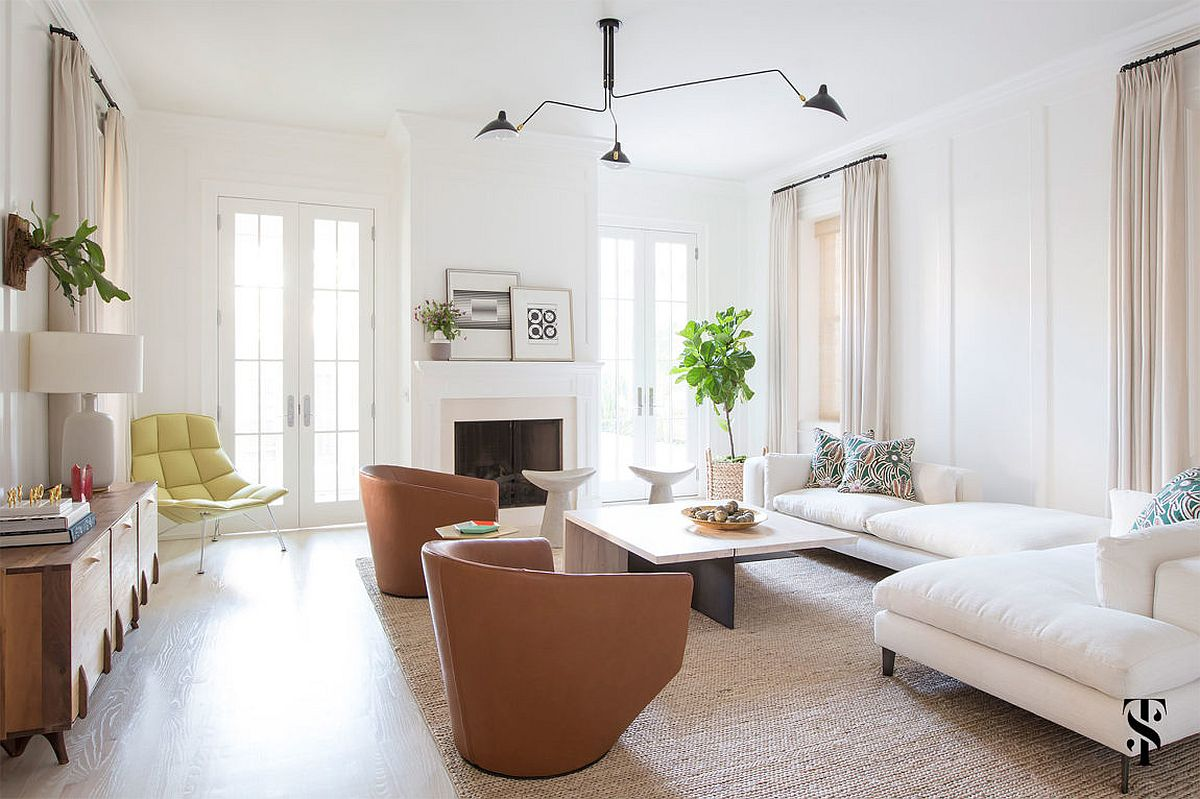 Feminine living room filled with ample natural light