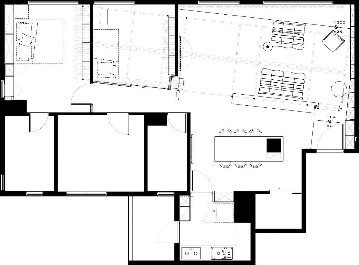 Floor plan of the revamped apartment of fashion designer in Taoyuan, Taiwan