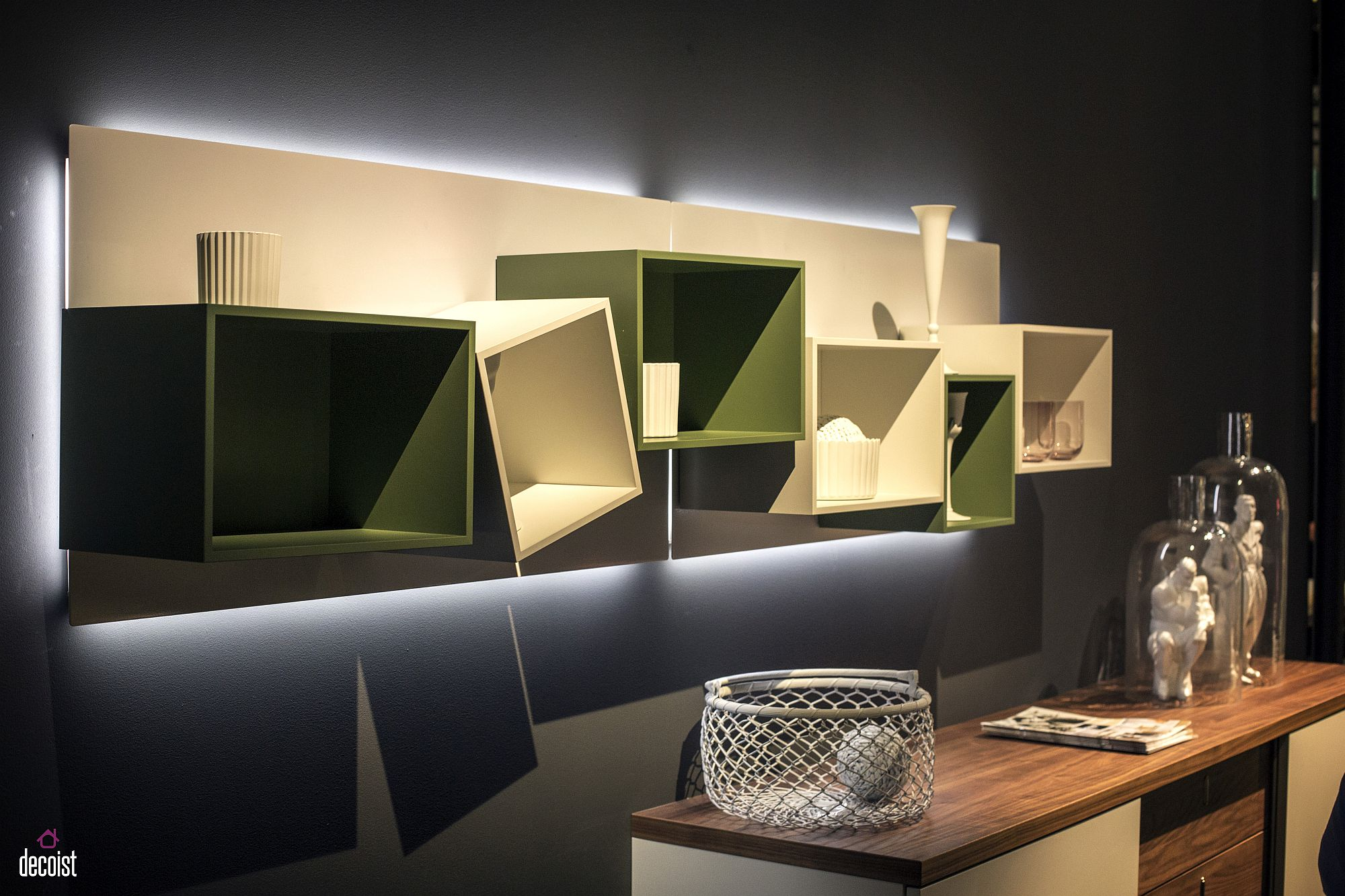 Fun composition of box-like shelves from Hulsta