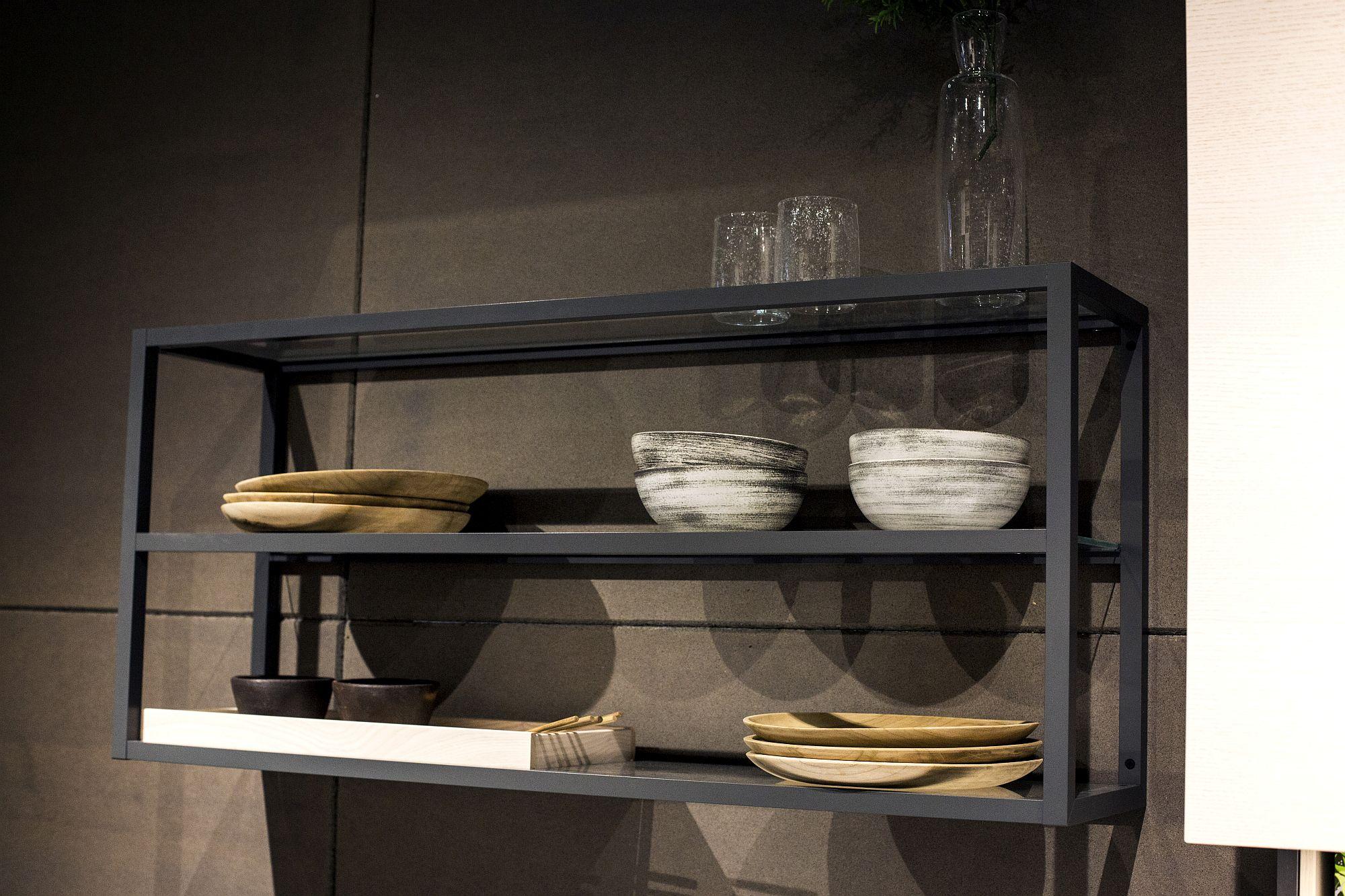 Glass and metal floating shelf unit