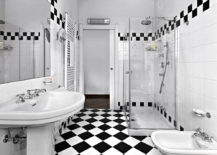 Glass-shower-in-a-monochrome-checkered-bathroom--217x155