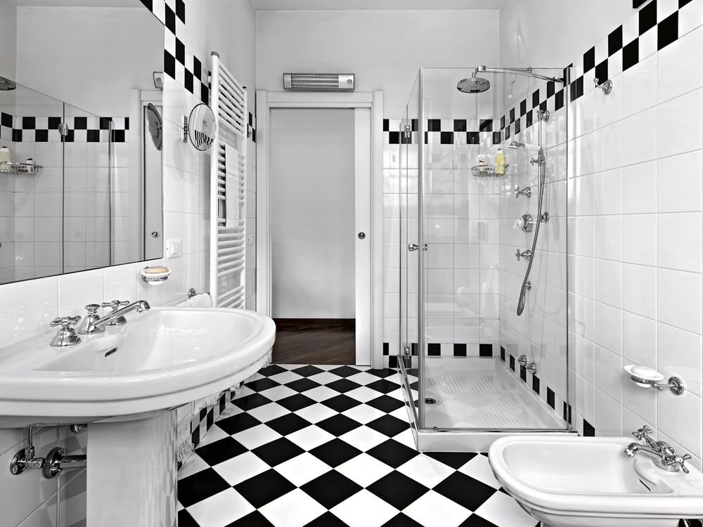 Black And White Shower Bathroom Ideas  Glass Shower In A Monochrome. Black And White Bathrooms Designs Pictures  forwardcapital us