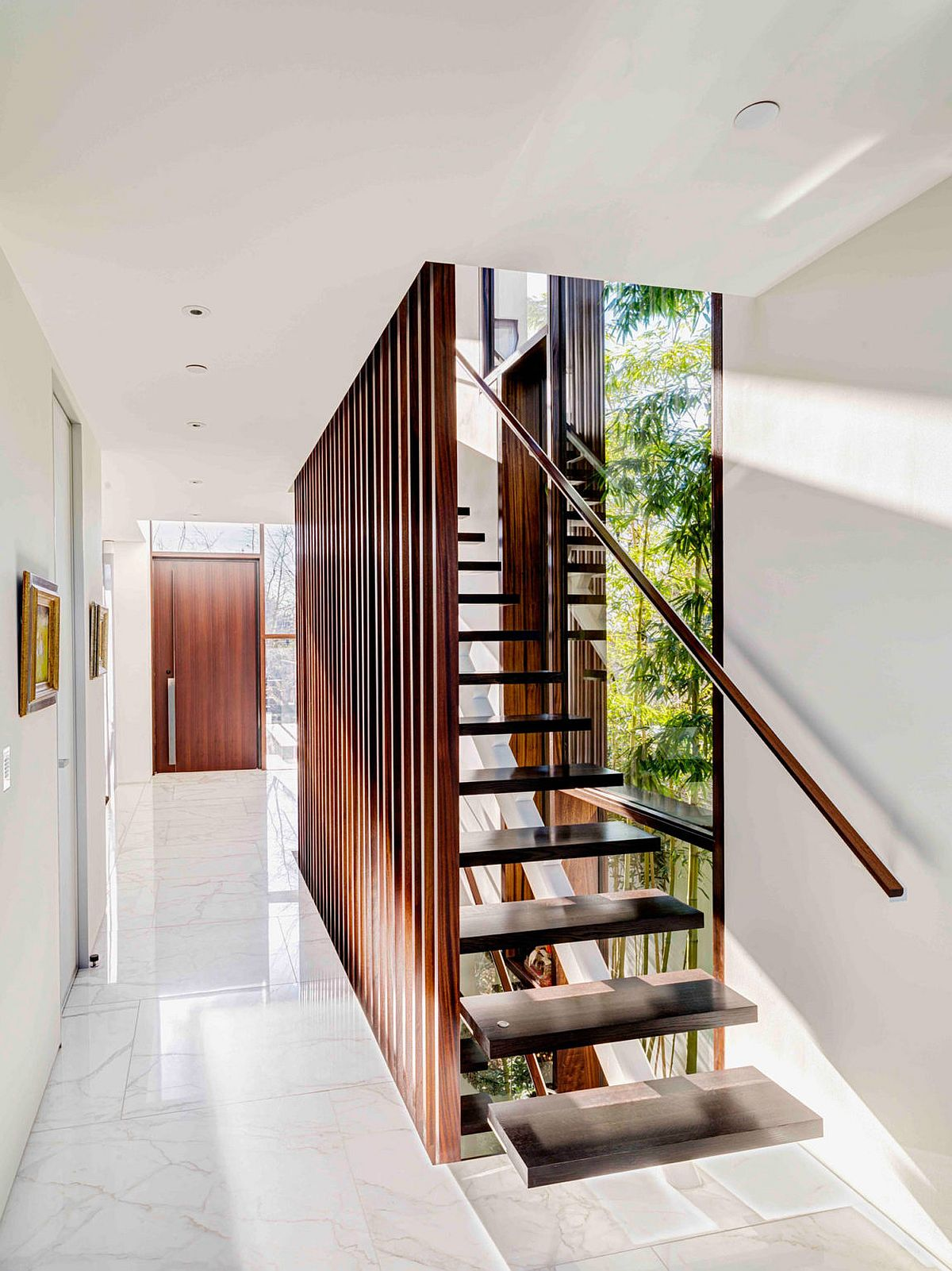 Oriental inspiration finds space inside this lavish vancouver residence - Amazing private house design with luxurious swirly white staircase ...