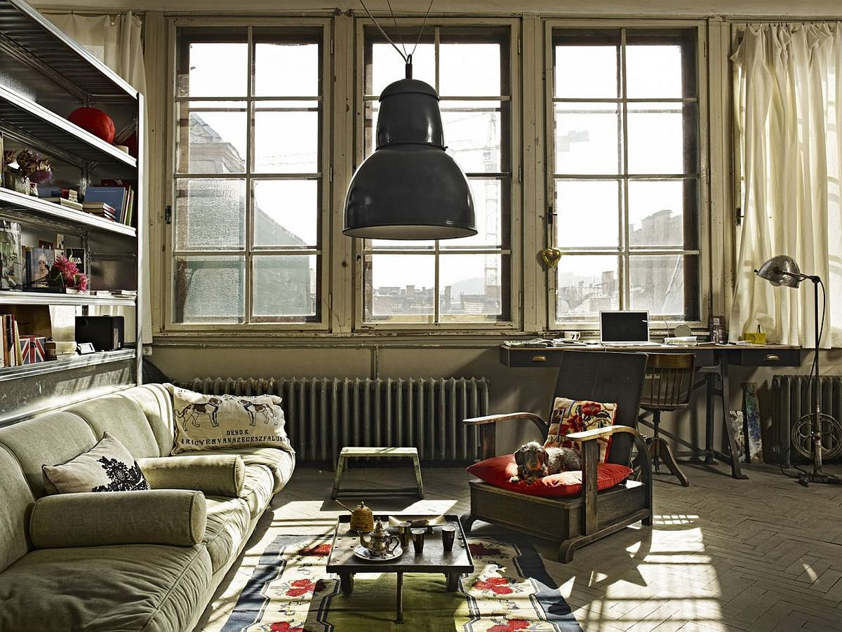 old painter s studio turned into tiny vintage industrial loft in budapest. Black Bedroom Furniture Sets. Home Design Ideas