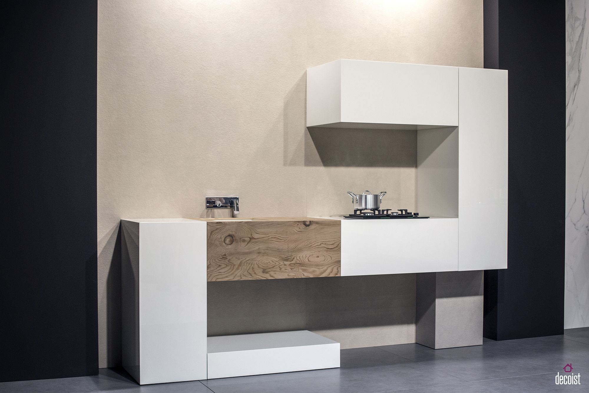 Inventive and minimal one-wall kitchen design feels like an abstract work of art