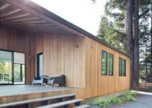 Large and open wooden deck connect the home with the rear yard 217x155 Imposing Old Redwoods Surround this Modern Vacation Home in California
