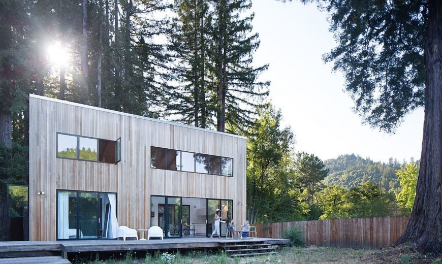 Imposing Old Redwoods Surround this Modern Vacation Home in California