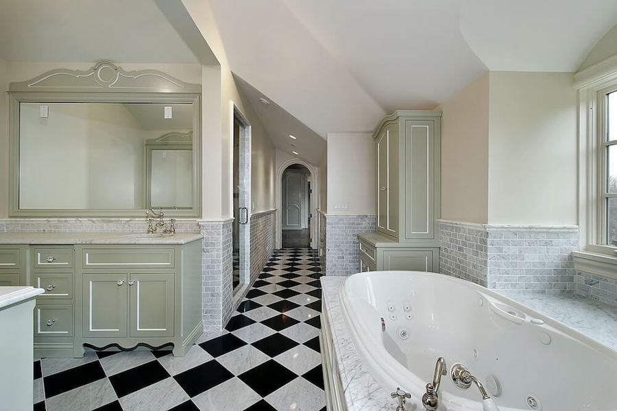 Luxurious bathroom with checkered floor and vintage flair