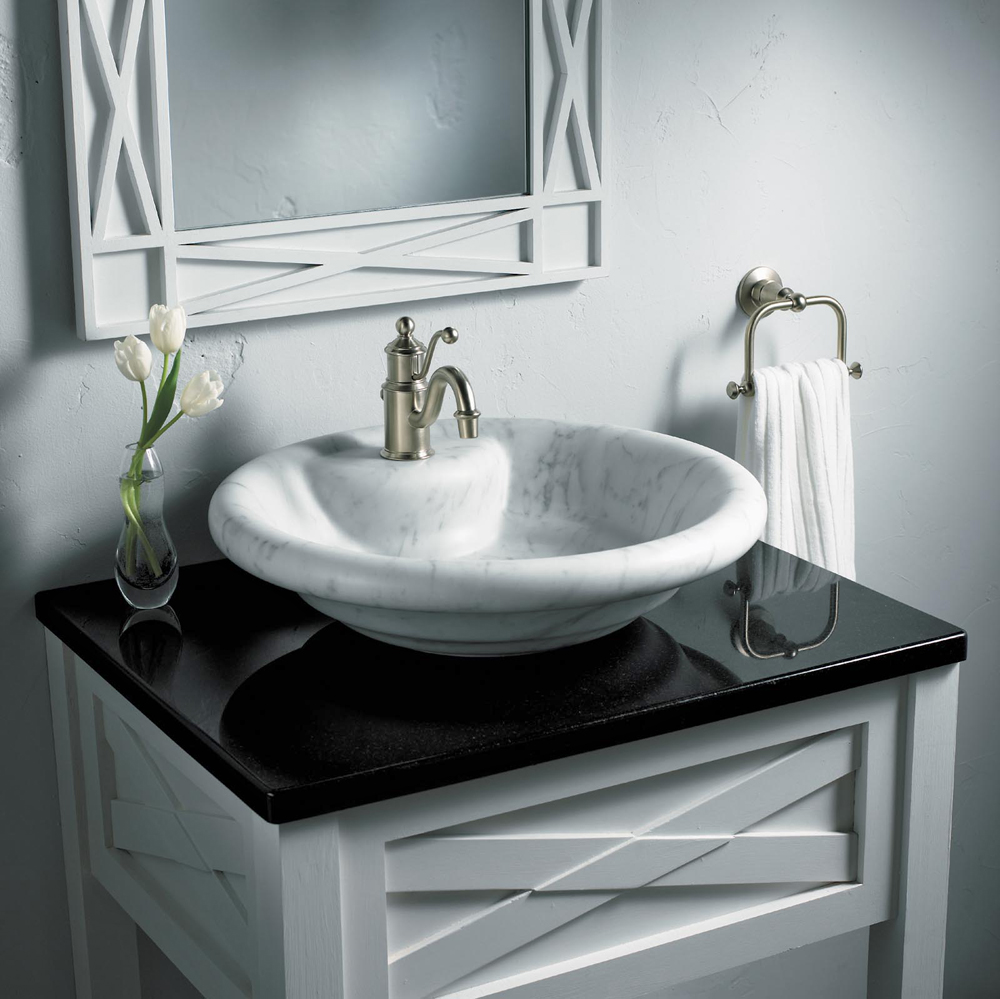 round vessel sinks in white and dark tones