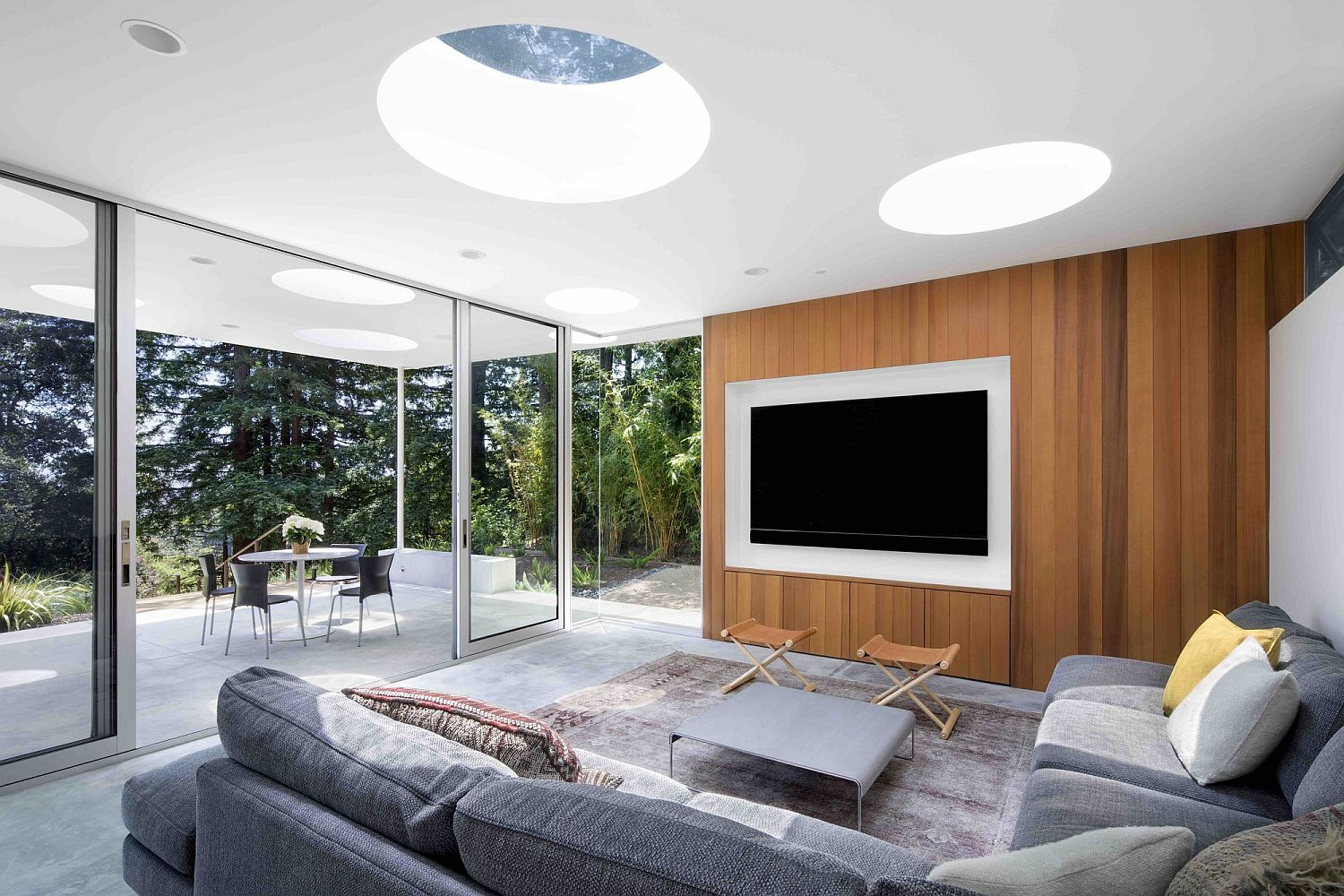 Media-room-and-sitting-area-at-the-Mill-Valley-Guesthouse-with-skylights-and-a-breezy-ambiance