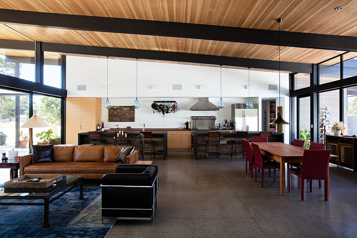 Metallic frame and wooden ceiling give the new home a more classic look